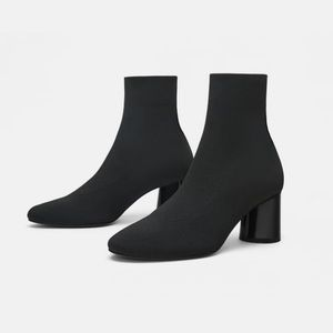 Zara Black  Fabric high heeled ankle boot stretch